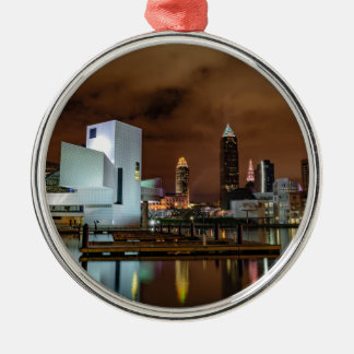 Cleveland Skyline at Night Silver-Colored Round Ornament