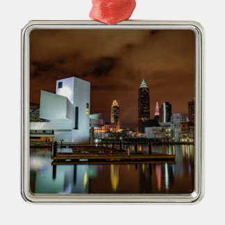 Cleveland Skyline at Night Silver-Colored Square Ornament