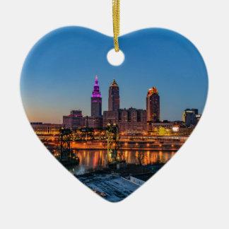Cleveland Skyline at Sunset Ceramic Heart Ornament