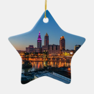 Cleveland Skyline at Sunset Ceramic Star Ornament