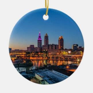 Cleveland Skyline at Sunset Round Ceramic Ornament