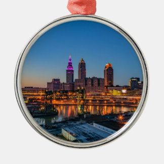 Cleveland Skyline at Sunset Silver-Colored Round Ornament