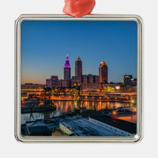 Cleveland Skyline at Sunset Silver-Colored Square Ornament