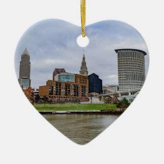 Cleveland Skyline Ceramic Heart Ornament