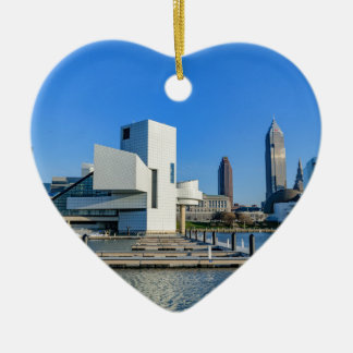 Cleveland Skyline Ceramic Heart Ornament