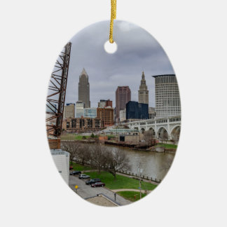 Cleveland Skyline Ceramic Oval Ornament