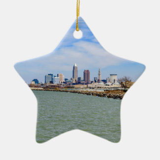 Cleveland Skyline Ceramic Star Ornament