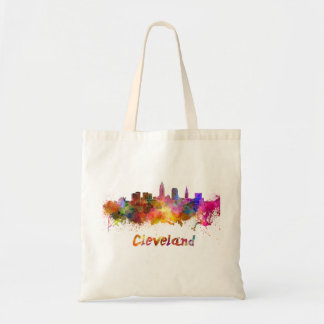 Cleveland skyline in watercolor tote bag