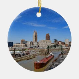 Cleveland Skyline Round Ceramic Ornament