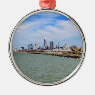 Cleveland Skyline Silver-Colored Round Ornament