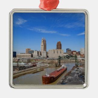 Cleveland Skyline Silver-Colored Square Ornament