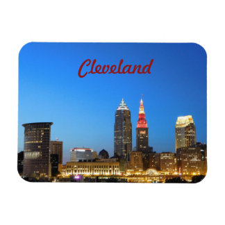 Cleveland Skyline Wine and Gold Magnet