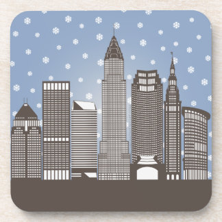 Cleveland Snowflakes Beverage Coaster