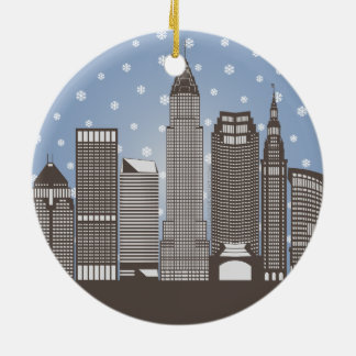 Cleveland Snowflakes Round Ceramic Ornament