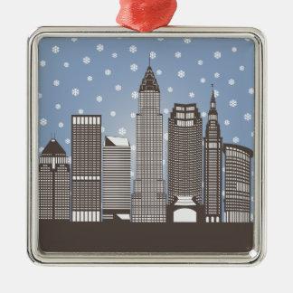 Cleveland Snowflakes Silver-Colored Square Ornament