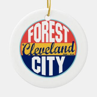 Cleveland Vintage Label Round Ceramic Ornament