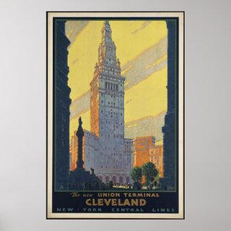 Cleveland Vintage Travel Poster Ad Retro Prints