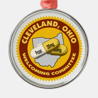 Cleveland Welcome Silver-Colored Round Ornament