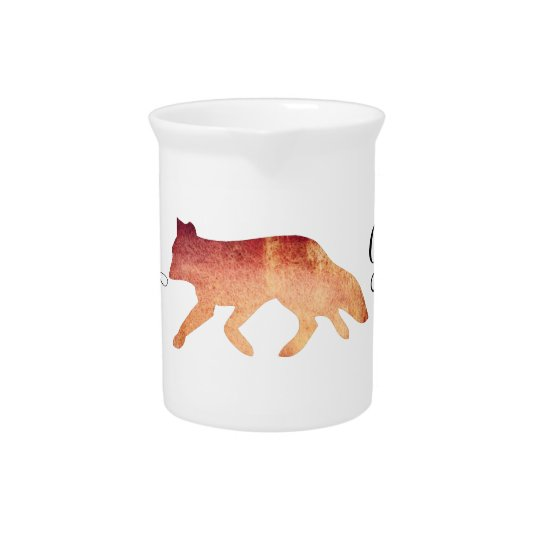 Clever as a Fox Typographical Watercolor Beverage Pitchers