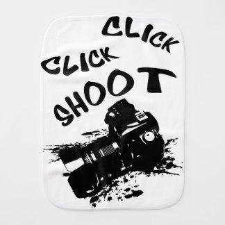 Click click shoot burp cloth