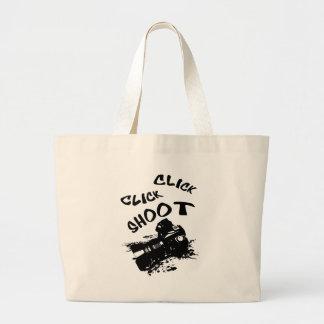 Click click shoot large tote bag