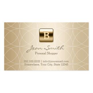Client personnel de monogramme de luxe d'or cartes de visite professionnelles
