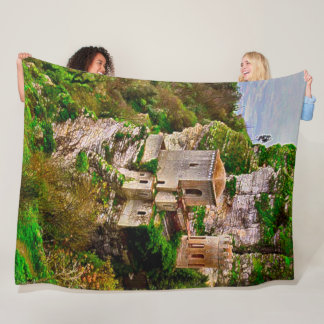 Cliff Castle, Sicily, Italy Acrylic Art Fleece Blanket