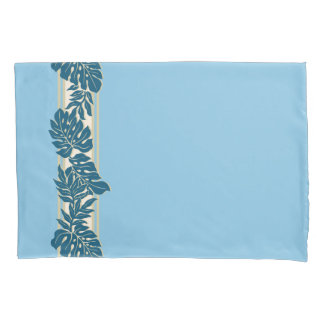 Cliff Hanger Hawaiian Monstera Leaf Blue Pillowcase