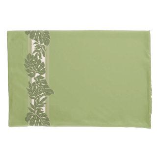 Cliff Hanger Hawaiian Monstera Leaf Green Pillowcase