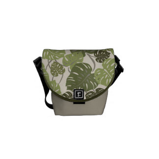 Cliff Hanger Hawaiian Monstera Leaf Messenger Bag