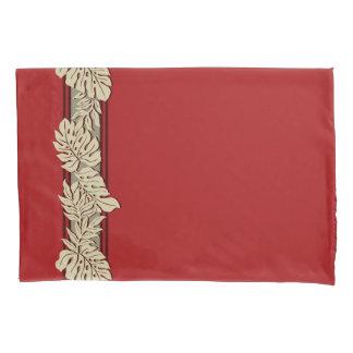 Cliff Hanger Hawaiian Monstera Leaf Red Pillowcase