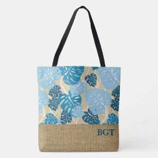 Cliff Hanger Hawaiian Monstera Monogram Beach Bag