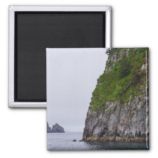 Cliff In Kenai Painterly Square Magnet