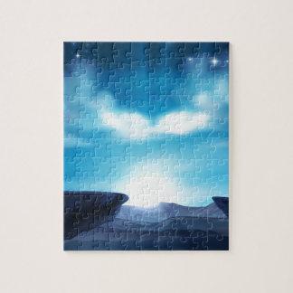 Cliff Mountain Sunrise Background Jigsaw Puzzle