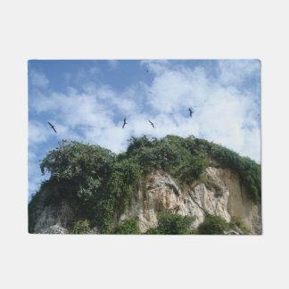 Cliff Side and Birds Door Mat