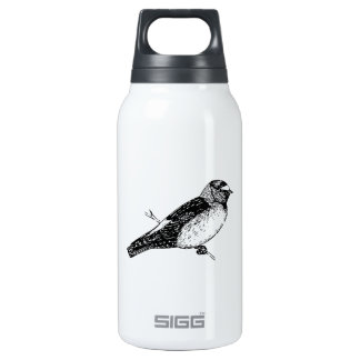 Cliff Swallow Bird Illustration Insulated Water Bottle