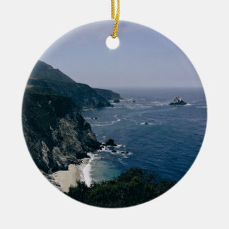 Cliff Themed, A View Of An Ocean, Mountains And Gr Ceramic Ornament