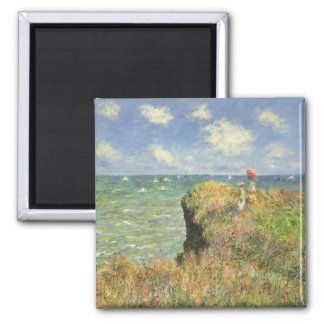 Cliff Walk at Pourville by Claude Monet Square Magnet