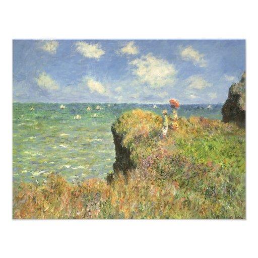 Cliff Walk Pourville, Monet, Vintage Impressionism Personalized Announcement