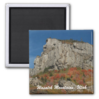 Cliff, Wasatch Mountains, Utah Square Magnet