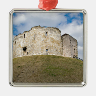 Clifford's Tower in York  historical building. Silver-Colored Square Ornament