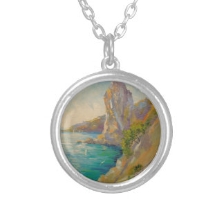 Cliffs by the sea silver plated necklace