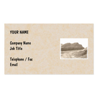 Cliffs in sepia color. On beige background. Business Card