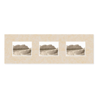 Cliffs in sepia color. On beige background. Mini Business Card