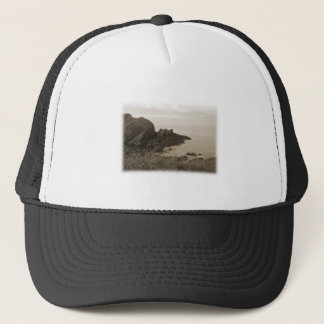Cliffs in sepia color. On White Background. Trucker Hat