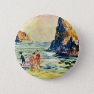Cliffs Of Guernsey By Pierre-Auguste Renoir 2 Inch Round Button
