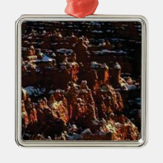 cliffs of the red rock of snow metal ornament