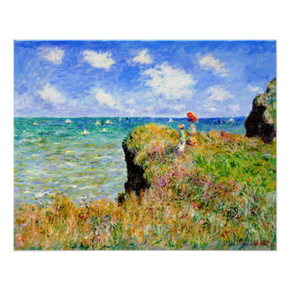 Clifftop Walk at Pourville by Claude Monet Poster