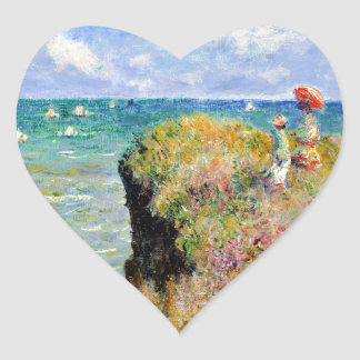 Clifftop Walk at Pourville - Claude Monet Heart Sticker