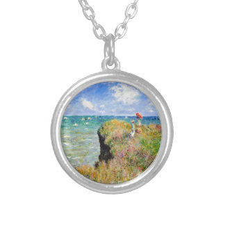 Clifftop Walk at Pourville - Claude Monet Silver Plated Necklace